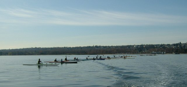 Race 5 in PNWORCA OC1/2 Winter Series - Start Line